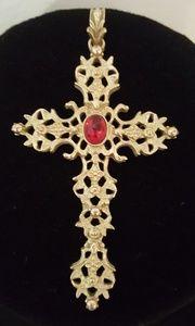 "Jewelry - 2.5"" Vintage AVON faux Ruby gold tone cross"
